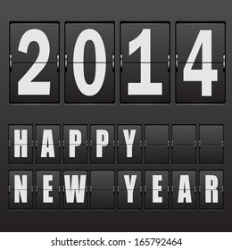 New Year's date 2014. Set of numbers on a mechanical timetable. illustration.