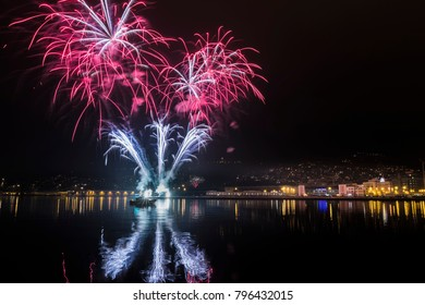 New Year's Day 2018 Fireworks in Trieste, Italy.