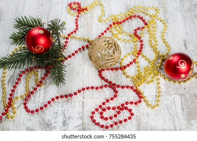 New Year's decoration on a wooden background