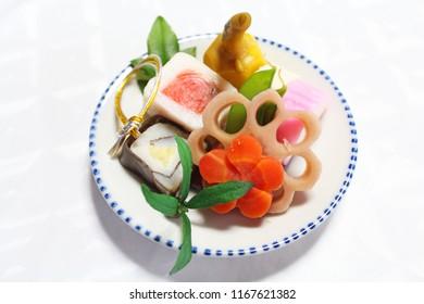New Year's dishes japanese cuisine - Osechi ryori.