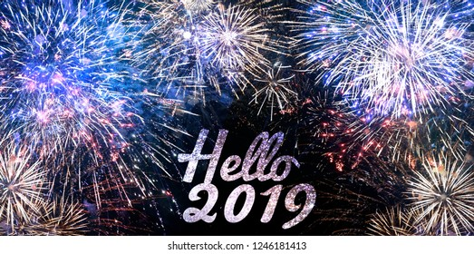 New year's Eve 2019 Festive Illumination Fireworks Design template backgound