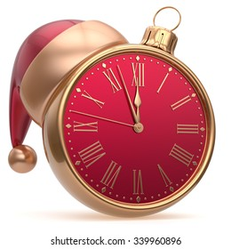 New Year's Eve alarm clock bauble Christmas ball decoration Santa hat ornament red golden. Traditional wintertime future midnight countdown beginning holidays time symbol adornment. 3d render isolated