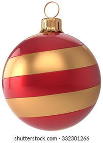New Year's Eve bauble golden red Christmas ball decoration hanging sphere adornment modern. Traditional happy wintertime holidays ornament Merry Xmas symbol blank striped. 3d render isolated