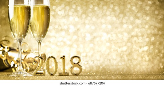 New years eve celebration background with champagne