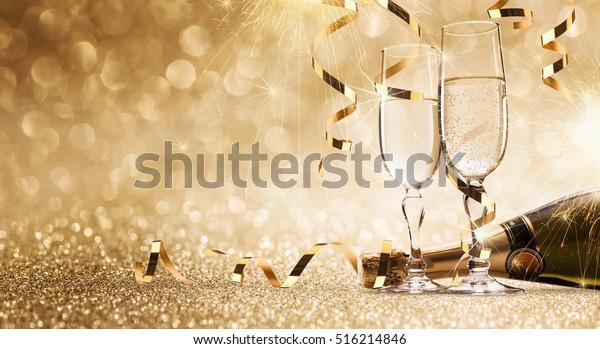 Neue Jahre mit Champagner-Hintergrund