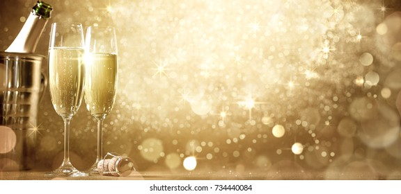 New year's eve celebration with champagne.