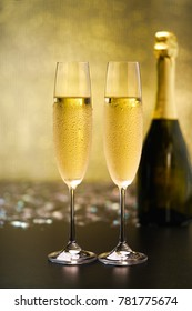 New year's eve celebration with champagne. Party and holiday celebration concept