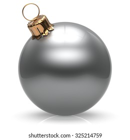 New Year's Eve Christmas ball bauble wintertime decoration white sphere hanging adornment classic. Traditional winter ornament happy holidays Merry Xmas event symbol glossy blank. 3d render isolated