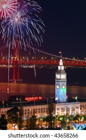 New Year's Eve Firework above Ferry Building & Bay Bridge in San Francisco