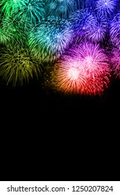 New Year's Eve fireworks background copyspace copy space portrait format colorful years year firework backgrounds