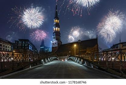 New Year's Eve fireworks in Hamburg