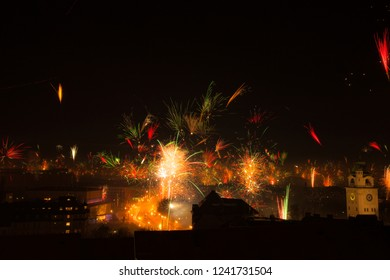 New Year's Eve fireworks in Munich Germany. Selective focus.