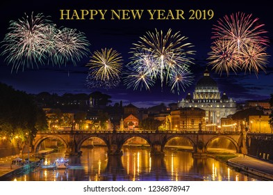 New year's eve and fireworks over Rome city, Italy