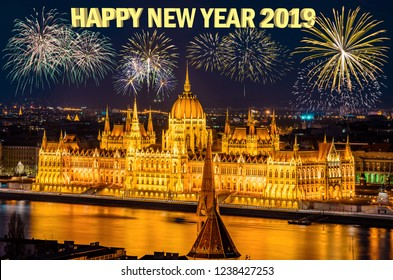 New Year's Eve and Fireworks over Danube river in Budapest city at night
