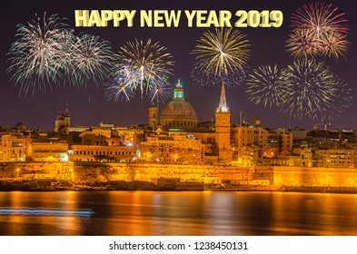 New year's eve and fireworks over Valletta, Malta