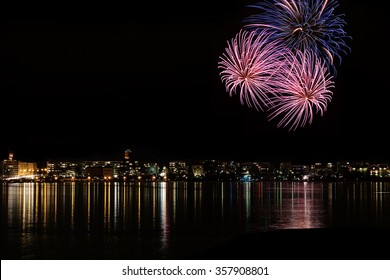 New Year's Eve fireworks over city of Vaasa in Finland