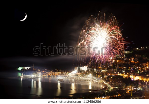 New Year's Eve fireworks over the old town of Budva. Montenegro