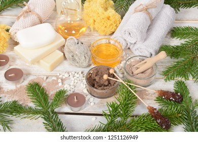 New Year's Eve home spa, pumice, natural soap chocolate facial mask, pumice, body oils