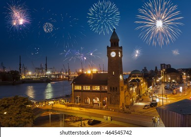 New Year's eve at Landungsbridge in Hamburg