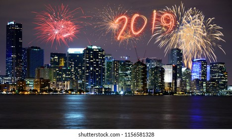 New year's eve over Miami skyline, Florida, USA