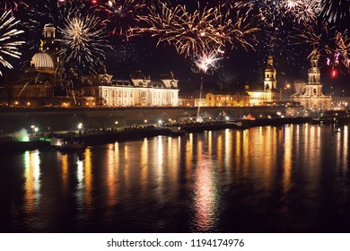 new years eve with the skyline of Dresden Germany
