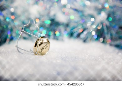 New Year's Eve/Champagne cork  in the snow new year's 2020