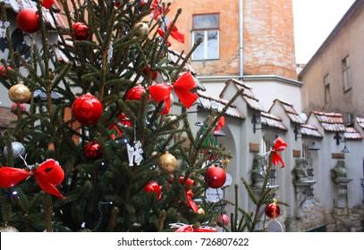 "New Year's exterior of the restaurant ""Mons Pius"" in Lviv, Ukraine"