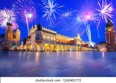 New Years firework display in Krakow, Poland