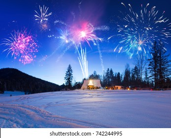 New Years firework display in Tatra mountains, Zakopane