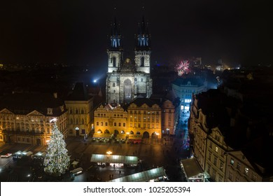 New year's fireworks in Prague
