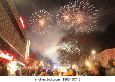 New Year's fireworks in Varna (Bulgaria). Walk 1 January 2021