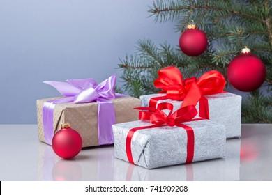 New Years gift box and Christmas tree.