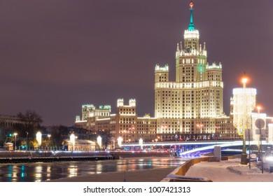 New year's illuminations on the Moskvoretskaya and Raushskaya embankments. High-rise building on Kotelnicheskaya embankment, Moscow, Russia