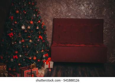 New Year's interior, New Year tree, sofa