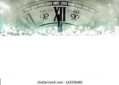 New Year's at midnight - Old clock with stars and snowflakes