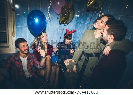 New Years Party Birthday Party Group Stock Photo Edit Now - Party in the bathroom