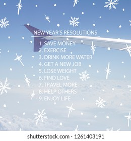 New year's resolutions, aims, aspirations, plans list concept