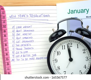 New Year's resolutions with alarm clock and measure