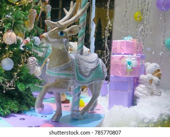 New Year's scenery. The holiday of Christmas. Toys and gifts