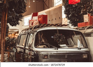 New Year's truck van with gifts decoration festive retro