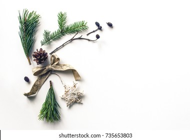 New Year's unusual composition. Christmas background for a presentation of work or text. Beautiful greeting card. Top view. Copy space