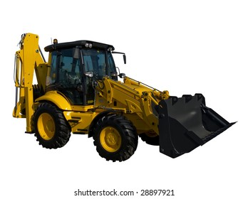 New yellow tractor isolated on pure white