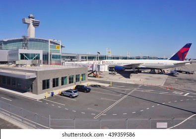NEW YORK -10 JUNE 2016- Airplanes at the John F. Kennedy International Airport (JFK), the largest and busiest airport serving the New York area.