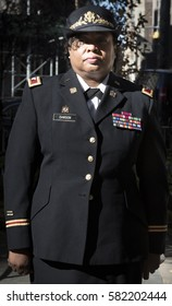 NEW YORK - 11 NOV 2016: 2016 Grand Marshal Stephanie Dawson, COO Port Authority of NY & NJ, Colonel-Ret, US Army at the Eternal Light Monument wreath laying ceremony-Madison Square Park-Veterans Day.