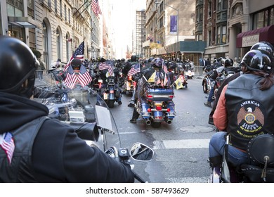NEW YORK - 11 NOV 2016: Bikers on motorcycles participate in the annual Americas Parade up 5th Avenue on Veterans Day in Manhattan.