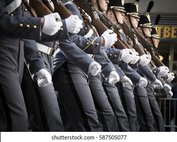 NEW YORK - 11 NOV 2016: Close up of West Point cadets march in Americas Parade up 5th Avenue on Veterans Day in Manhattan.