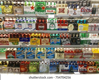 NEW YORK - 12 NOVEMBER, 2017: Chilled Craft beer six packs in the refrigerator at a grocery store in New York, North America.