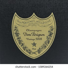 New York, 12/8/2019: Closeup view of Dom Perignon Vintage 2008 champagne box label.