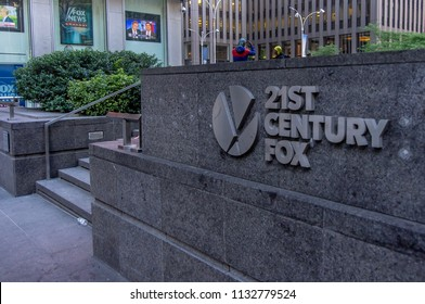 New York, NY—June 15, 2018 sign posted on courtyard and stairs at entrance to building marks headquarters of 21st Century Fox Company.  Fox is a Manhattan based global media company.