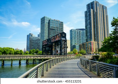 New York, New York - 15 July 2016: Gantry Plaza State Park in Long Island City, New York.